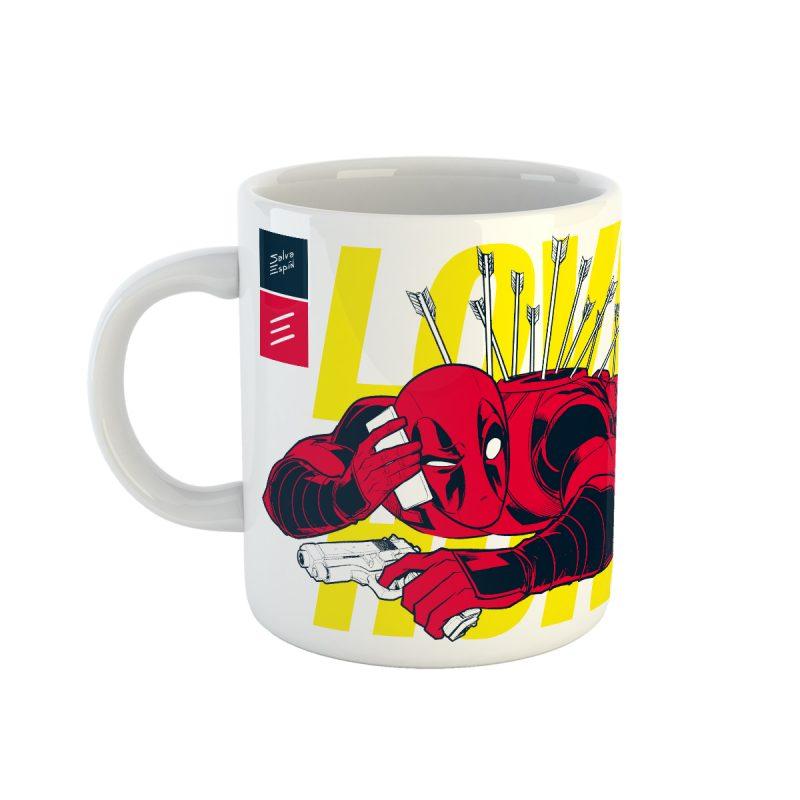 """Mug """"Deadpool Love Hurts"""" dibujo de Salva Espín"""