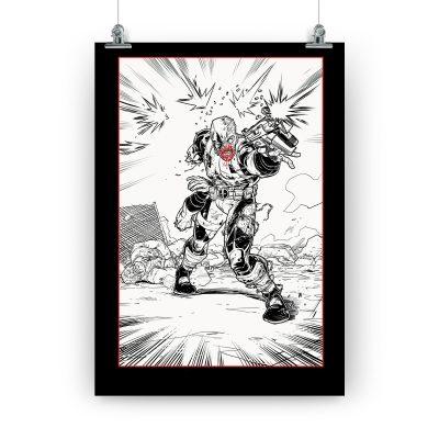 Póster «Hard Mission» con Deadpool mutilado. Dedicado y firmado por Salva Espín