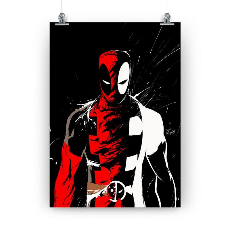 """Póster de Deadpool """"Black in Black-pool"""" de Salva Espín, firmado y personalizado por Salva Espín"""